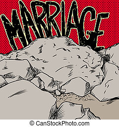 Marriage On The Rocks in Red and Yellow - Concept...
