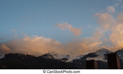 sunset in the mountains, Rosa Khutor time-lapse Clouds...