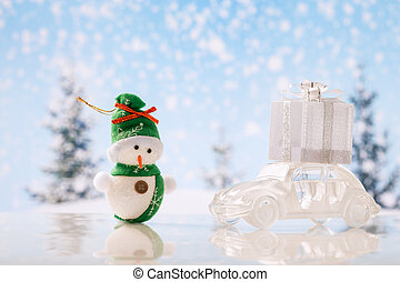 Christmas backgroundCar with gifts - Retro glass car with...