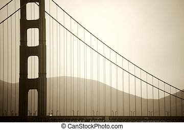 Pillar of Golden Gate Bridge - The vintage photograph of a...