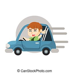 Boy riding car