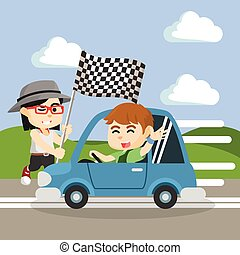 car race boy with girl holding flag