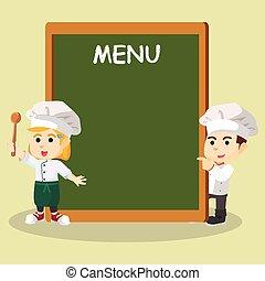 küchenchef, Junge, m�dchen, menükarte