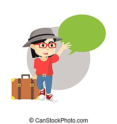 Traveling girl with blank text