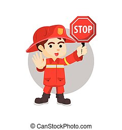 Firefighter stop sign