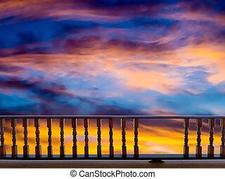 Staket,  sky, när, solnedgång, list, moln