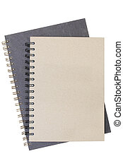 Two recycled paper notebook front cover