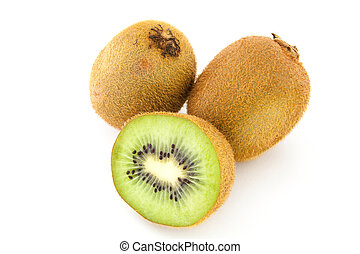 Kiwi - A perfectly fresh kiwi fruit isolated on white.