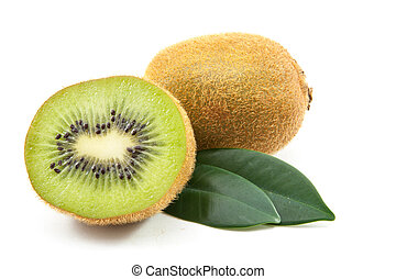 Kiwi with Leafs - A perfectly fresh kiwi fruit with Leafs...
