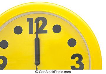 Close up Yellow wall clock
