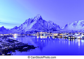 Reine, Lofoten Islands, Norway - Winter evening in Reine,...