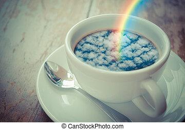Blue sky cloud with rainbow reflection on coffee - Blue sky...