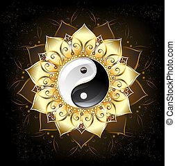 YinYang Golden Lotus - yin yang symbol , drawn in the middle...