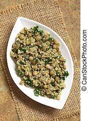 Quinoa, ensalada, con, lenteja, y, perejil,