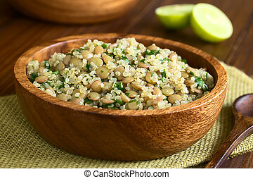 Quinoa, lenteja, perejil, ensalada