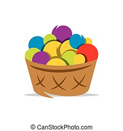 Vector Basket with Yarn Cartoon Illustration. - Colorful...