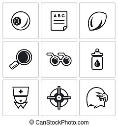 Vector Set of Human Vision Icons. Eye, Braille, Lens,...