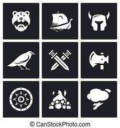 Vector Set of Viking Icons Warrior, Ship, Ammunition, God,...