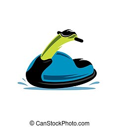 Vector Jet Ski Cartoon Illustration. - Detailed jet scooter...