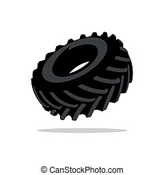 Vector Tyre Cartoon Illustration. - Black Tire tread...