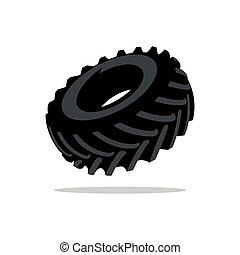 Vector Tyre Cartoon Illustration. - Black Tire tread...