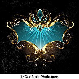 Turquoise Banner with Fleur De Lis - Turquoise banner with...