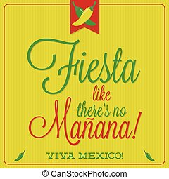 Retro style Mexican typographic card in vector format.