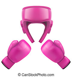 Boxing helmet and gloves. Self-defense. Sport goods, defense...