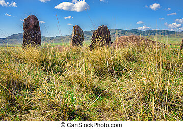 Megalithic rocks on the field - Landscape of megalithic...