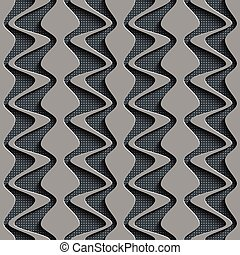Seamless Wave Pattern Curved Shapes Background Regular Gray...