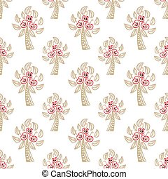 seamless pattern with Apple trees vector - white seamless...