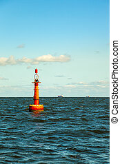 Buoy on sea - Navigation buoy at the edge of a fairway.