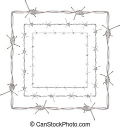 Barbed Wire Illustration - Metal barbed wire illustration on...