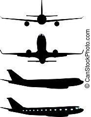 Airplane Black Silhouette - Simple black silhouettes of an...