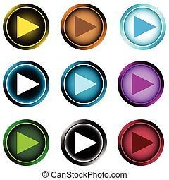 Clipart with start icons - Icon a start button in the form...
