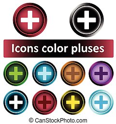 Clipart icons color pluses - Icon the button with positive...