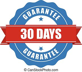 30 days guarantee stamp - warranty sign