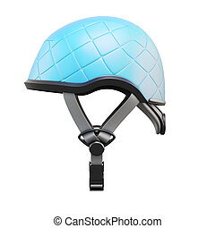 Blue helmet side view isolated on white background. 3d...