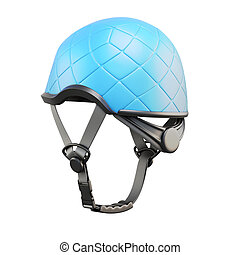 Blue helmet back view isolated on white background. 3d...