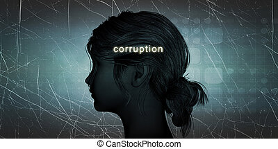 Woman Facing Corruption as a Personal Challenge Concept