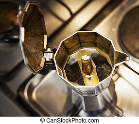 Coffeepot from above - Coffeepot seen from above with coffee...