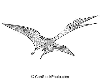 Pterosaur coloring book for adults vector illustration....
