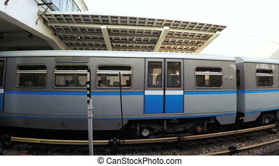 Subway cars in metro - Several subway cars in Moscow metro