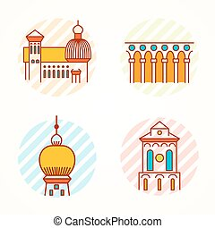 Set of Monument and building thin line colorful vector icons...
