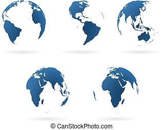 Earth globes set - Set of transparent earth globes in...