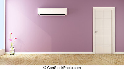 Empty living room with air conditioner