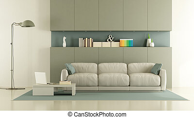 Elegant modern living room with sofa and niche - 3d...