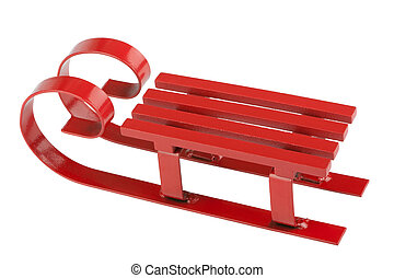 Red sleigh - Red sled isolated in front of white background