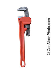 Red Pipe Wrench isolated