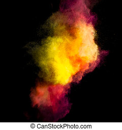 Freeze motion of colored dust explosion isolated on black...